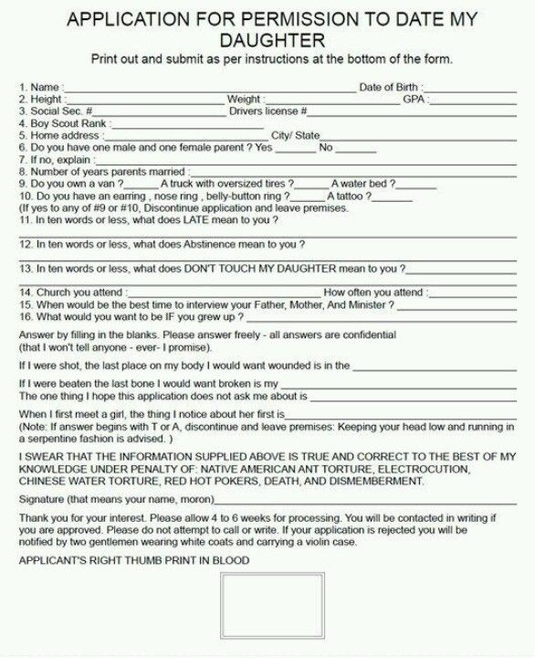 Application to date my daughter Lol Funny Forms Pinterest - home health aide sample resume