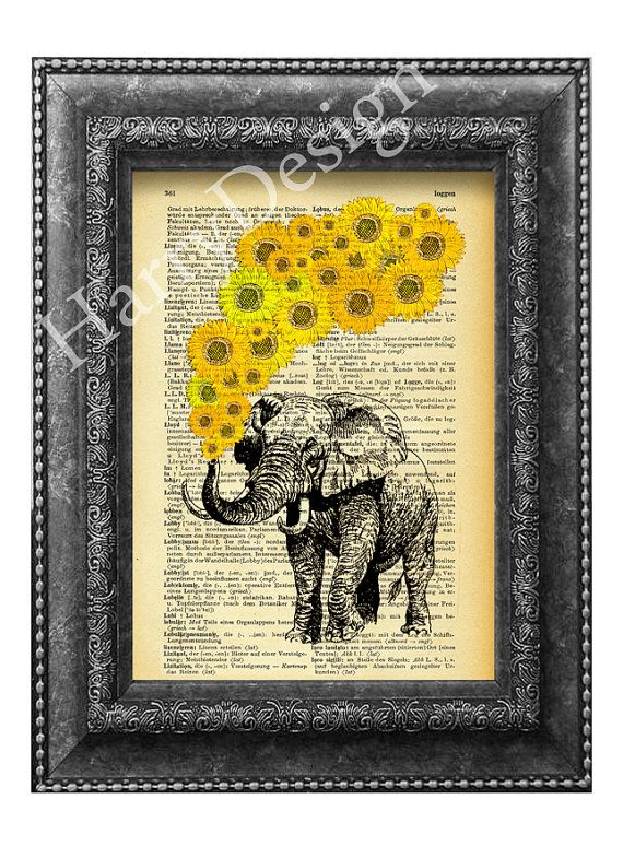 Elephant with sunflowers art print, dictionary page print, wall ...