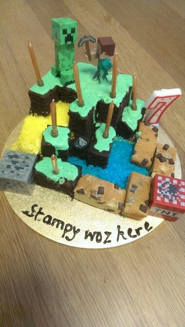 Minecraft cake constructed with help from Stampy's No.1 fan, Georgia.