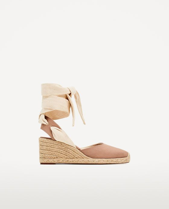 378d30f61b49 CONTRASTING TIED WEDGES in pink from Zara (under  50)