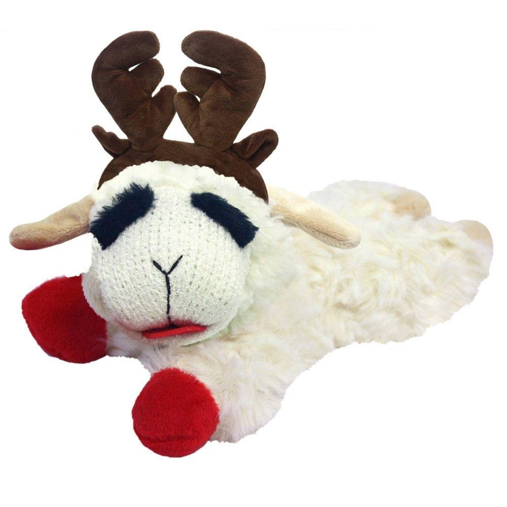 Multipet Lamb Chop Reindeer Dog Toy White Reindeer Dog Dog