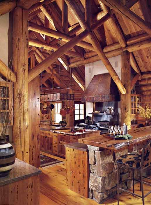 Cabinets luxury log home kitchen wooden kitchen for Luxury rustic homes