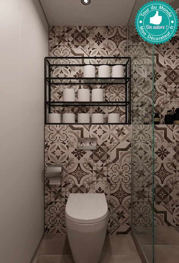Carreau de ciment au mur pour cette petite salle de bain ...