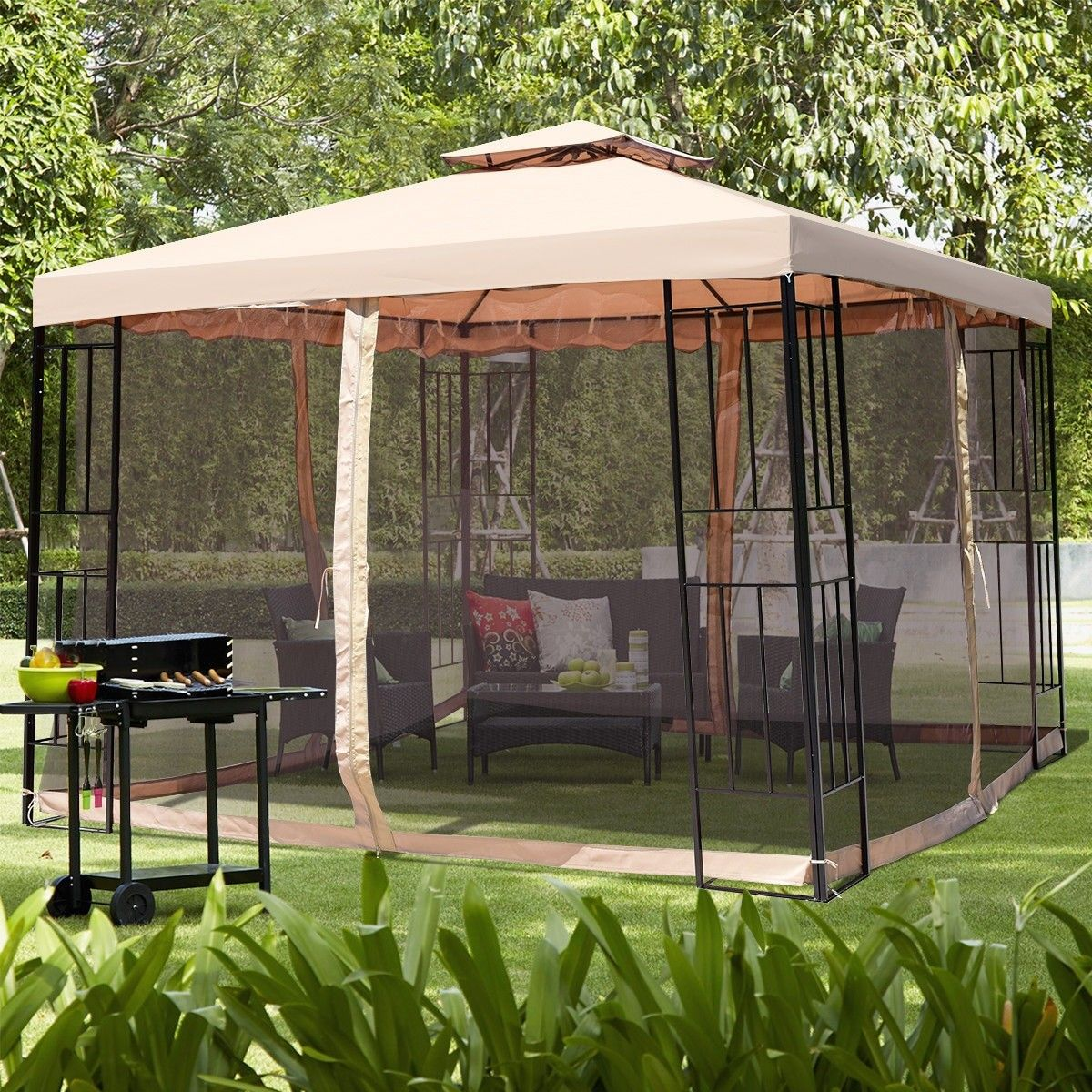 10 X 10 Ft 2 Tier Vented Metal Gazebo Canopy With Mosquito Netting Gazebo Canopy Gazebo Outdoor Gazebos