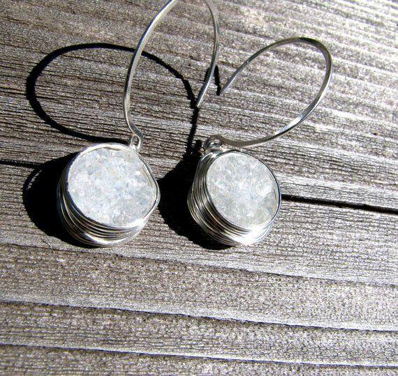 Sterling Silver, White Druzy Earrings, Clear Druzy Jewelry, Druzy Quartz Agate Crystal, Wire Wrapped, Bezel Set Druzy, Handmade Organic