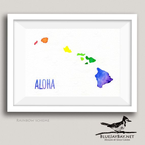 This Original Watercolor Map Of The Hawaiian Islands Is Made To Order In A Rainbow Color Scheme Using A Selection Of My W Watercolor Map Map Art Hand Lettering