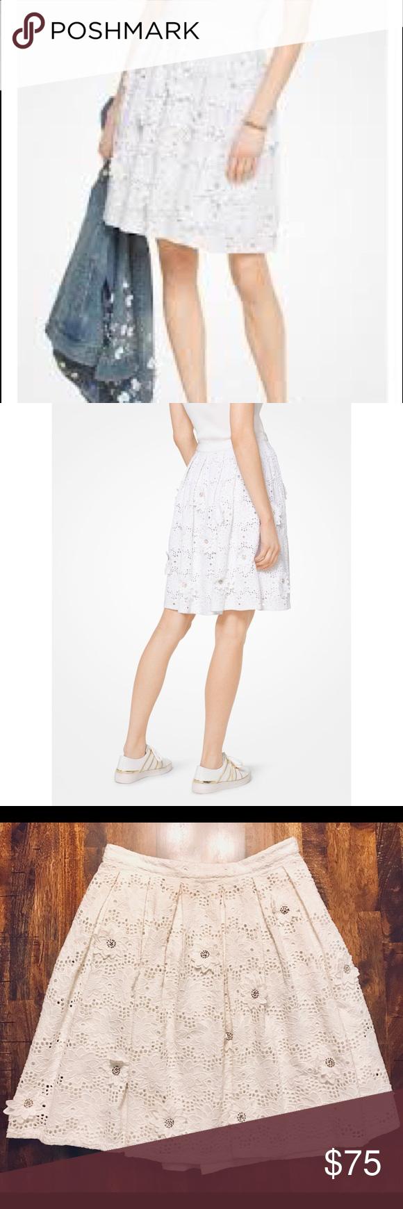 Michael Kors Floral Appliqué Eyelet Skirt Fashion