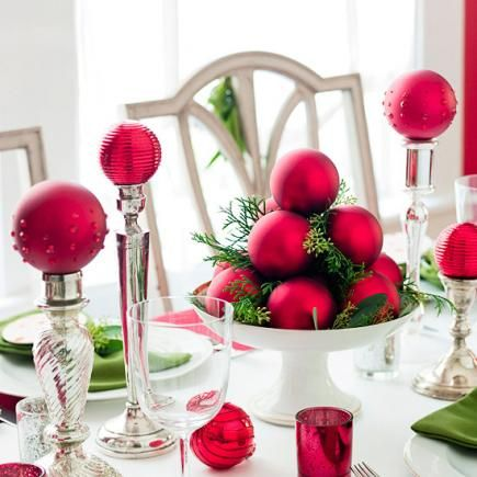 Use colored glass balls and a compote to create a quick and easy christmas centerpiece