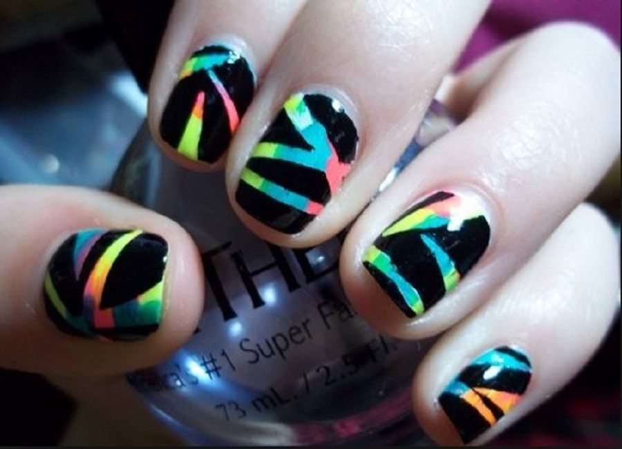 Picturesque Simple Nail Art Designs For Short Nails #black #rainbow #stripes