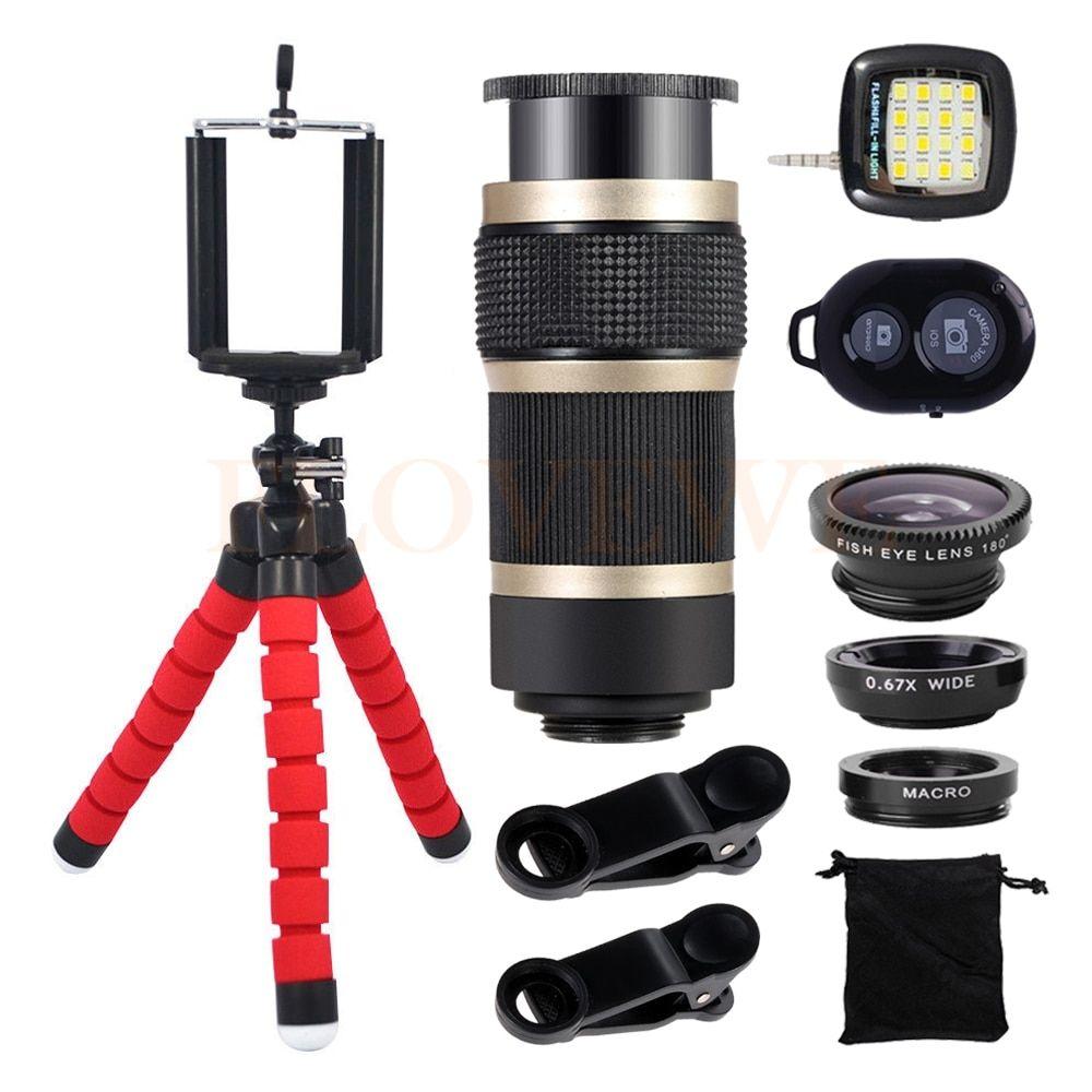 Phone Lens Kit 8X Zoom Telephoto Lentes Tripod Wide Angle Macro Fish eye Fisheye Lenses For iPhone 7 Smartphone Selfie lamp #wideangle