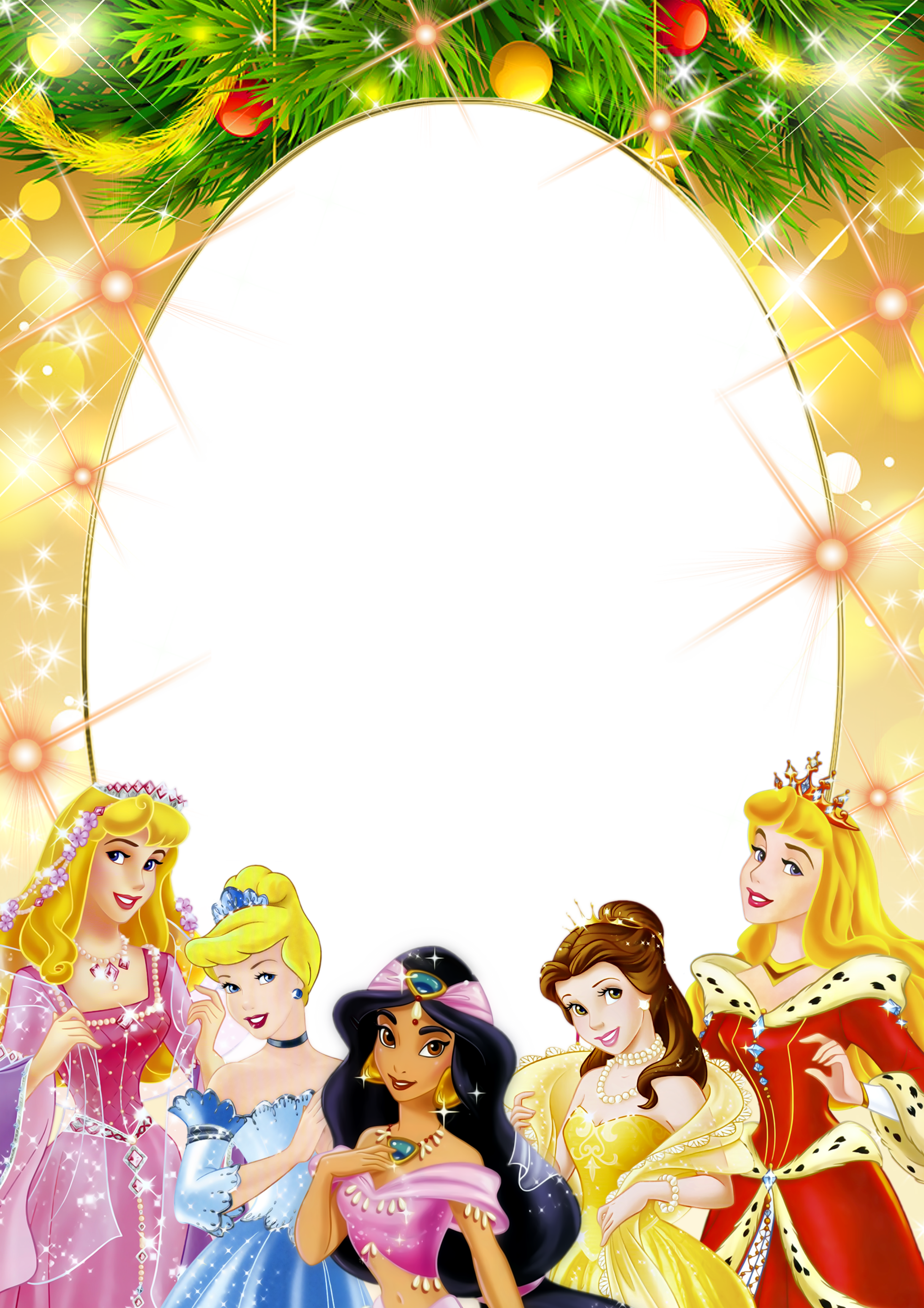 Transparent Kids PNG Frame with Christmas Princesses ...
