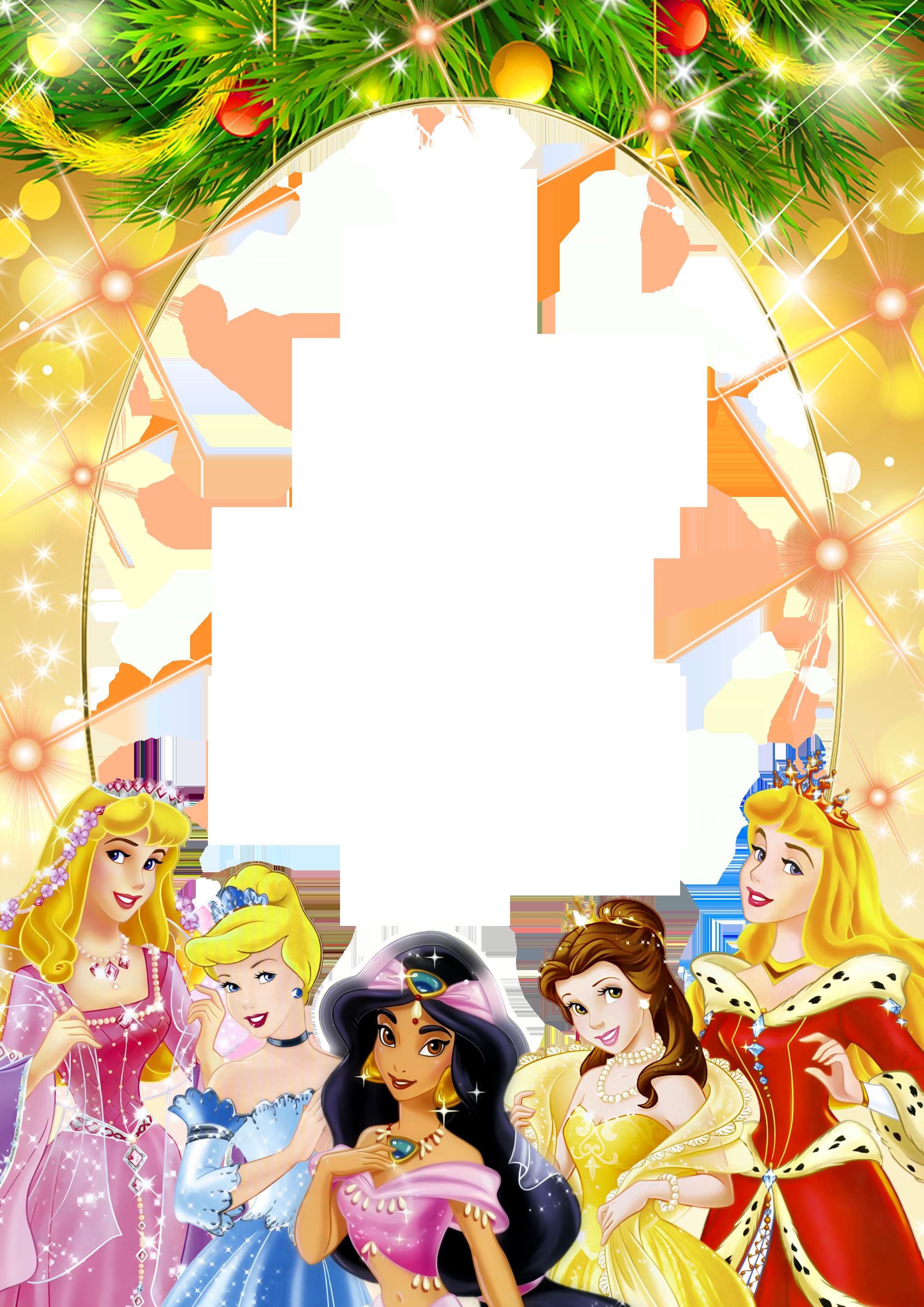 Transparent Kids PNG Frame with Christmas Princesses | Printables ...