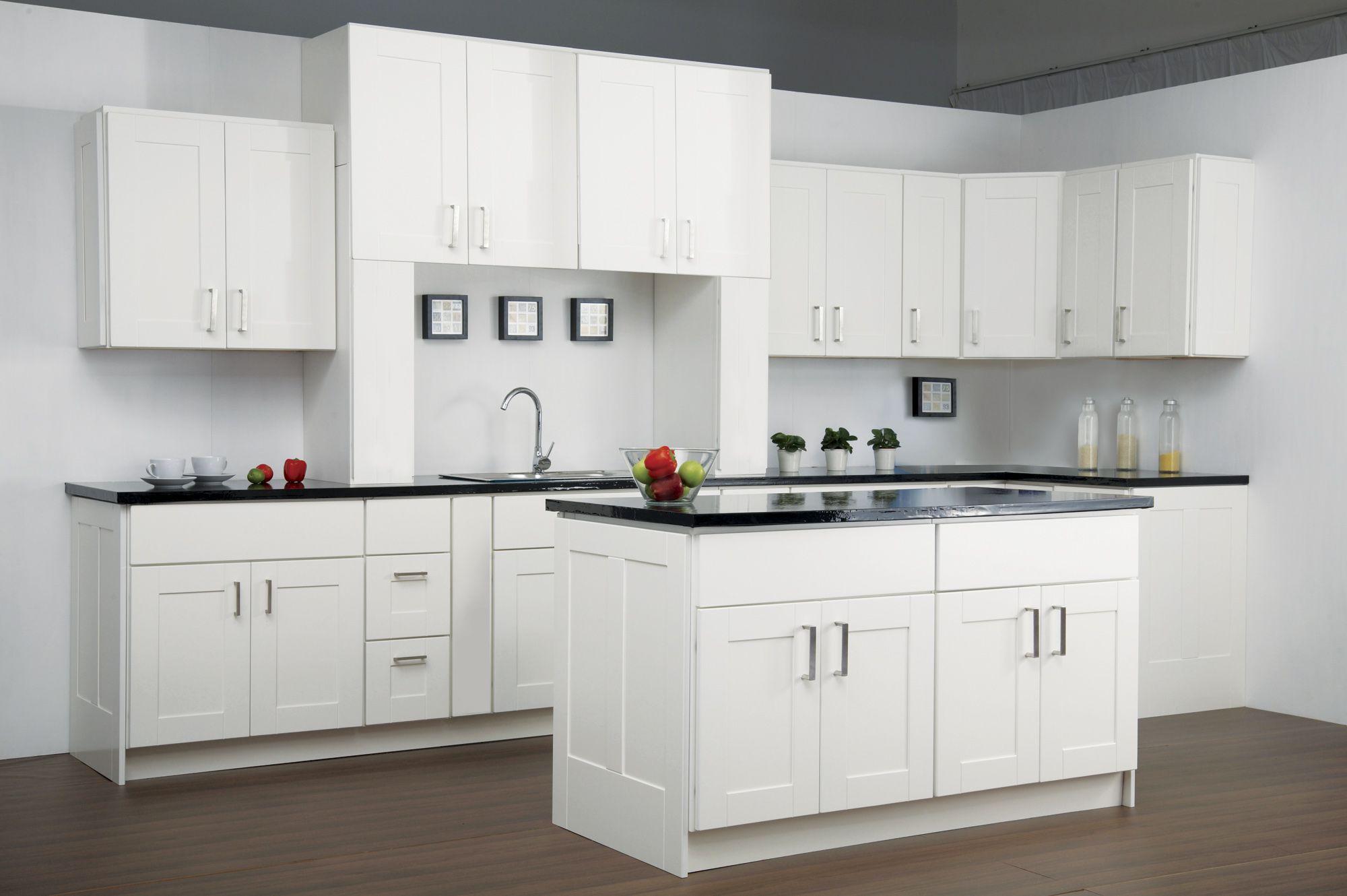 Findley & Myers Malibu White kitchen features birch hardwood doors ...