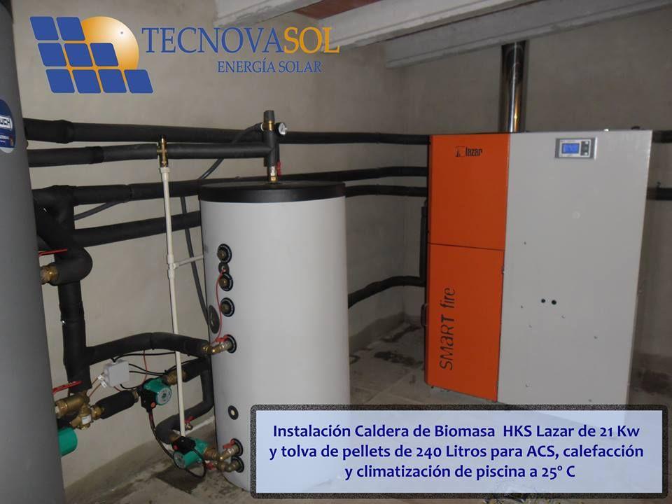 Instalaci n de caldera de biomasa hks lazar de 21 kw con for Caldera de pellets para radiadores