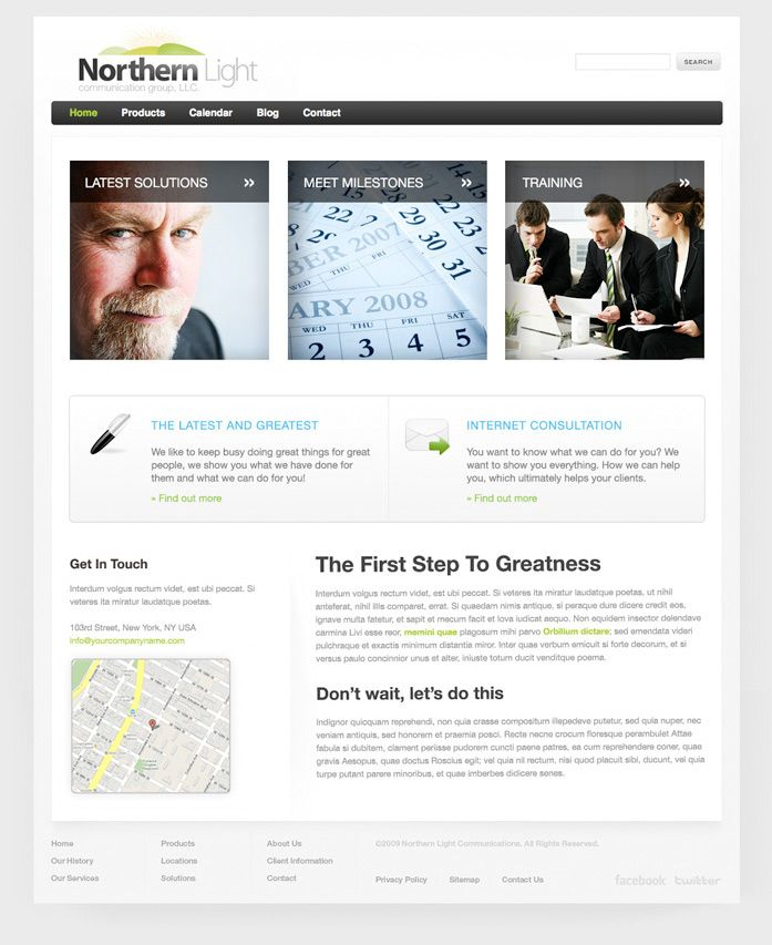 FREE Modern Silver Style Website Template by: testamentdesign.com