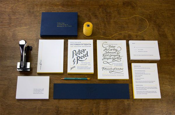 Hand-Lettered Navy Blue + Yellow Wedding Invitations http://www ...