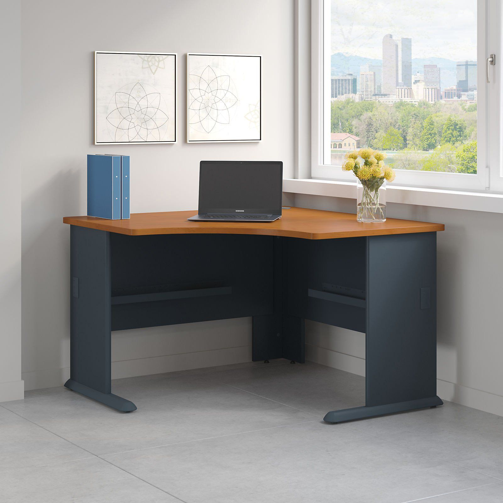 Series A 48 In Corner Laptop Desk Natural Cherry And Slate