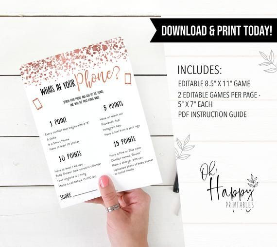 EDITABLE Whats in Your Phone Game, Rose Gold Baby Shower Games, Printable Baby Shower Games, Whats I