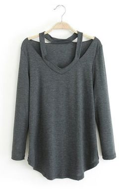 Cut Out V Neck Sexy Ladies Long Sleeves Loose T-shirt