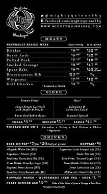 Mighty Quinn S Barbeque 103 2nd Avenue New York Ny 10003 212 677 3733 Menu Resto Nyc Nyc Restaurants Menu