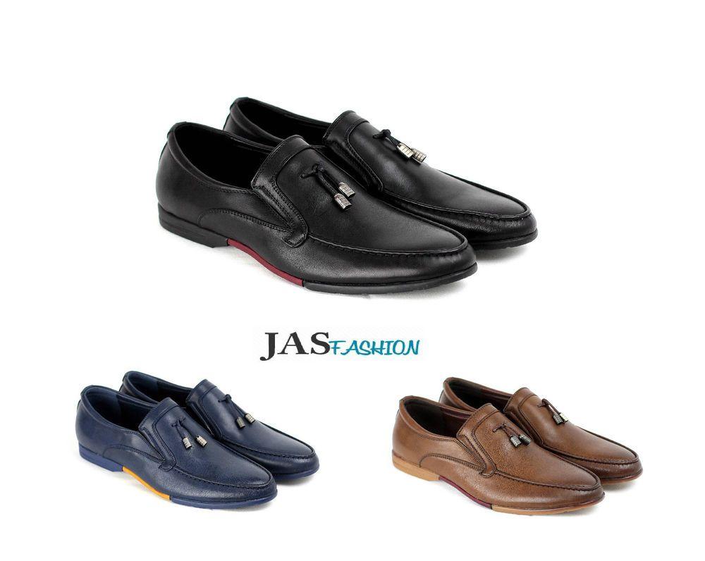 Men Slip On Smart Boat Shoes Casual Tel Deck Loafers Size 6 7 8 9 10 11 Black