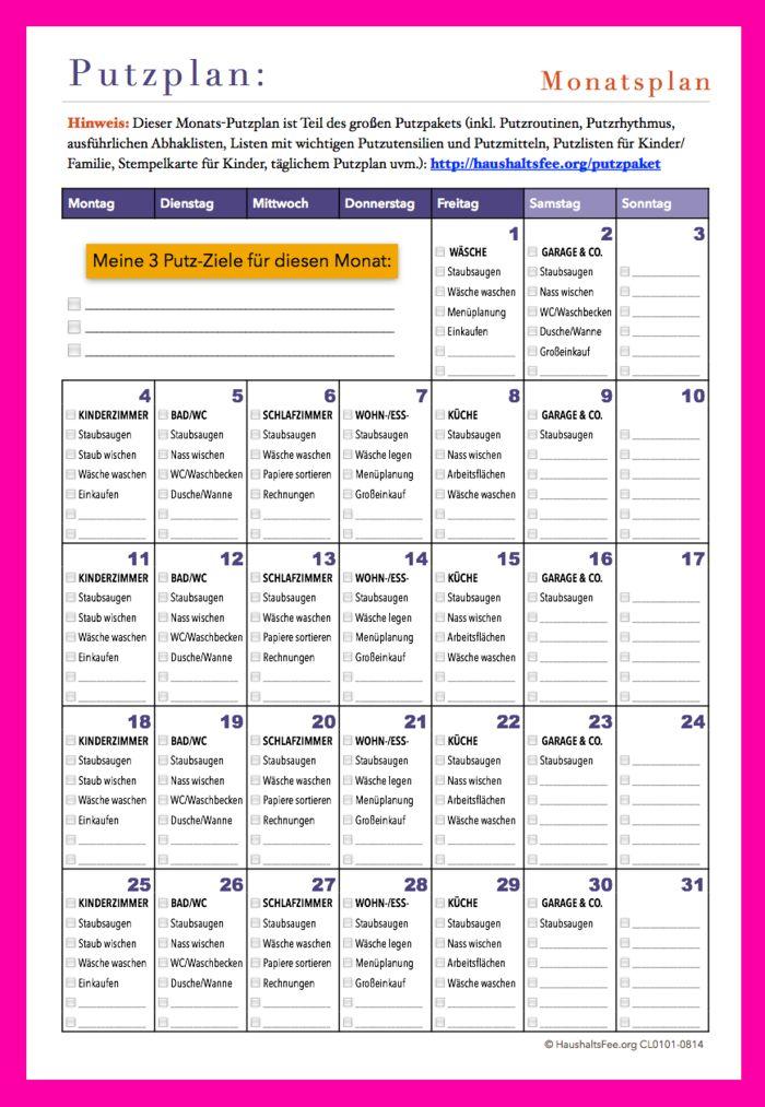 Putzplan Vorlage, jeden Monat neu und kostenlos als Kalenderblatt ...
