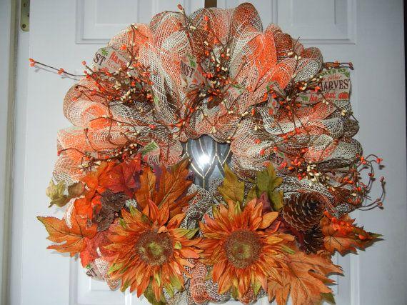 Fall Deco Mesh Wreath/Thanksgiving Deco Mesh by DecoDaneWreaths
