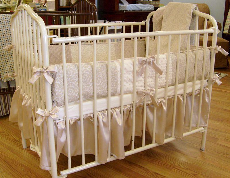 A Very Elegant Taupe And Cream Portable Crib Bedding Set Beautiful Portacrib Portablecrib Babybeddingset Portable Crib Bedding Crib Bedding Cribs