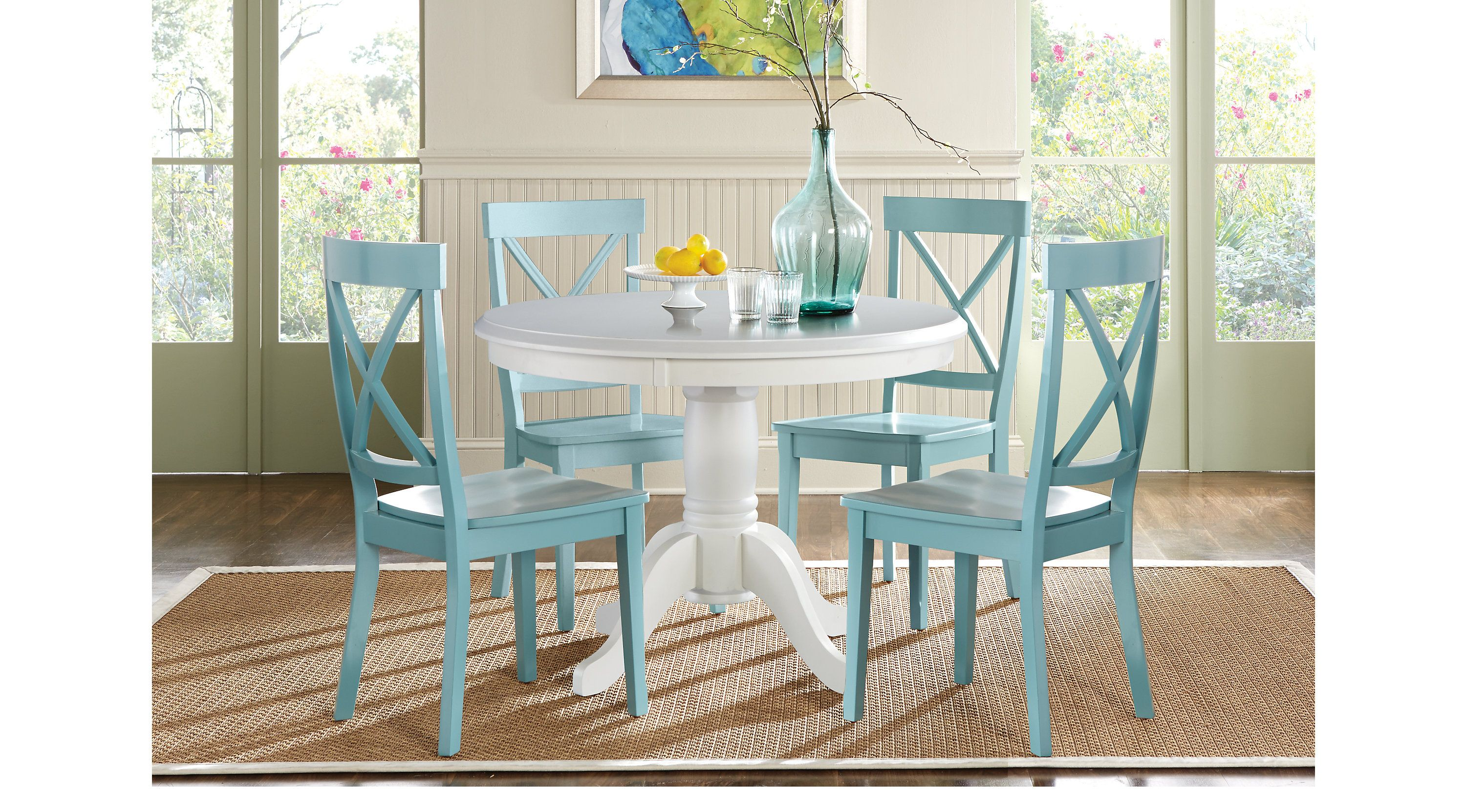 Dining Room Sets Rooms To Go Brynwood White 5 Pc Pedestal Dining Set Blue Chairs 8228218p Dining Room Sets Round Dining Room Round Dining Set