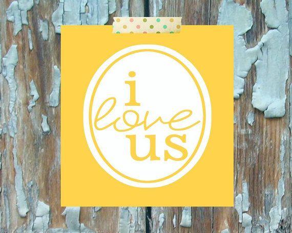 Teen Room Decor Yellow I Love Us Wall Art by LittleTweetHeart ...
