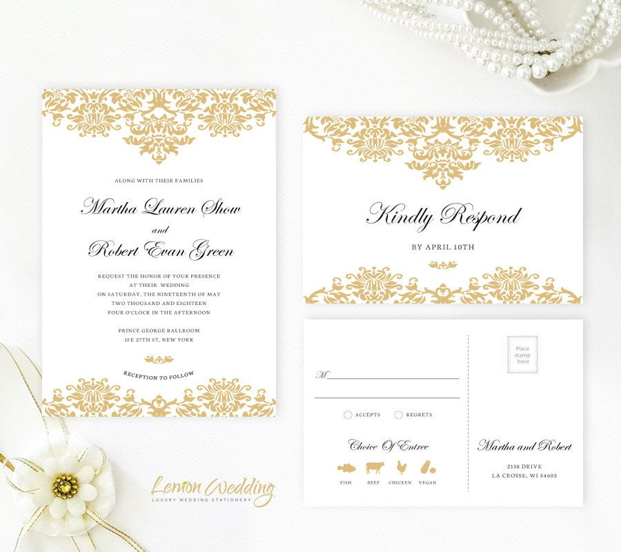 gold damask wedding invitation classic wedding invitations and rsvp postcards cheap wedding invitation kits - Cheap Wedding Invitation Kits
