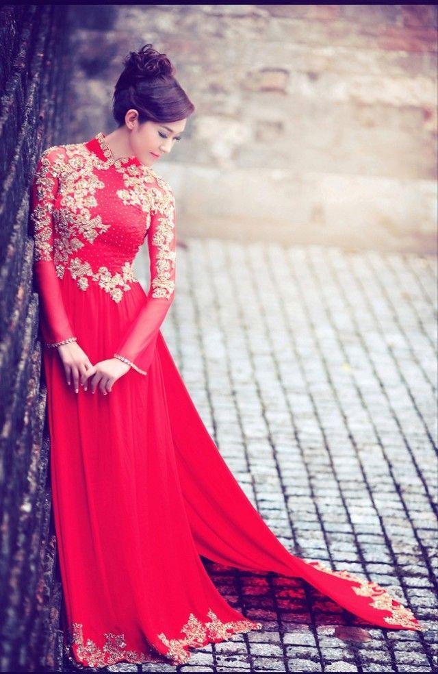 Red Wedding Ao Dai WR272 Vietnamese wedding dress