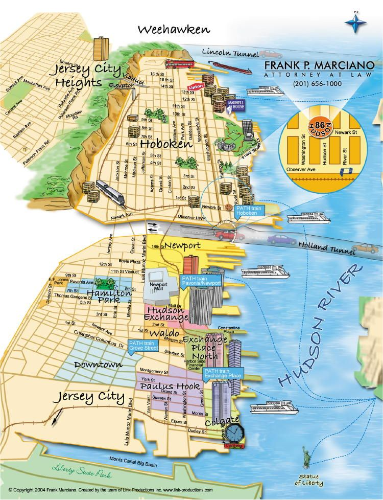 Jersey City Map Hoboken NJ | Hoboken and Downtown Jersey City Map | New Jersey  Jersey City Map