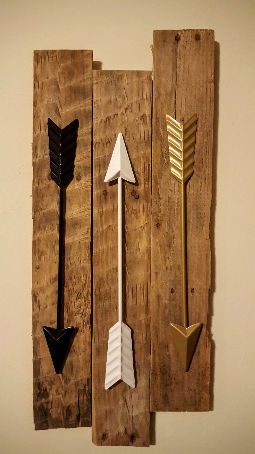 Arrow Wall Decor 3 Metal Arrows On Reclaimed Wood Gold Black White Teal Coral Turquoise Pink Gift
