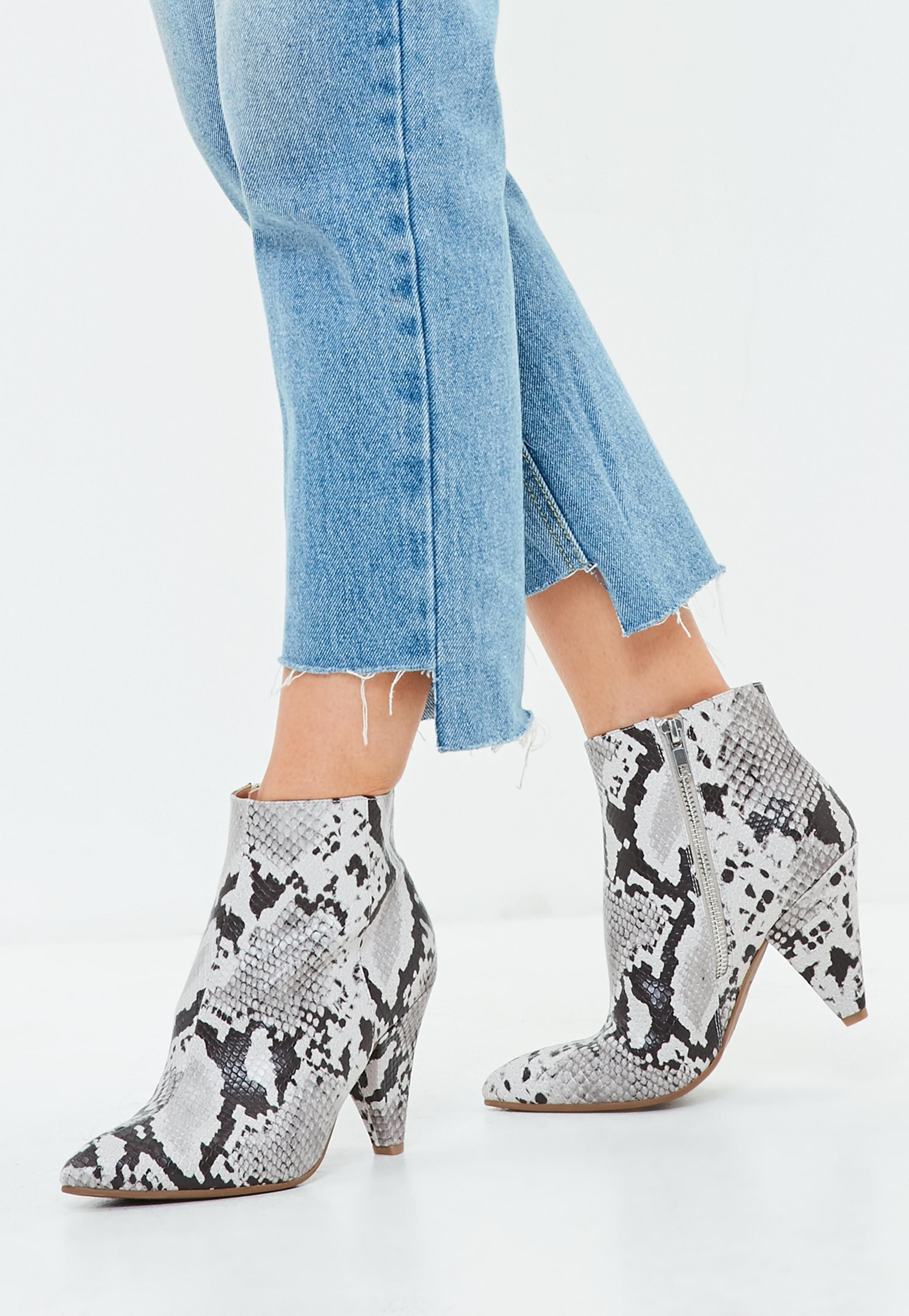 de5485df48d Gray Snakeskin Print Ankle Boots | Missguided | My Style Wish List ...