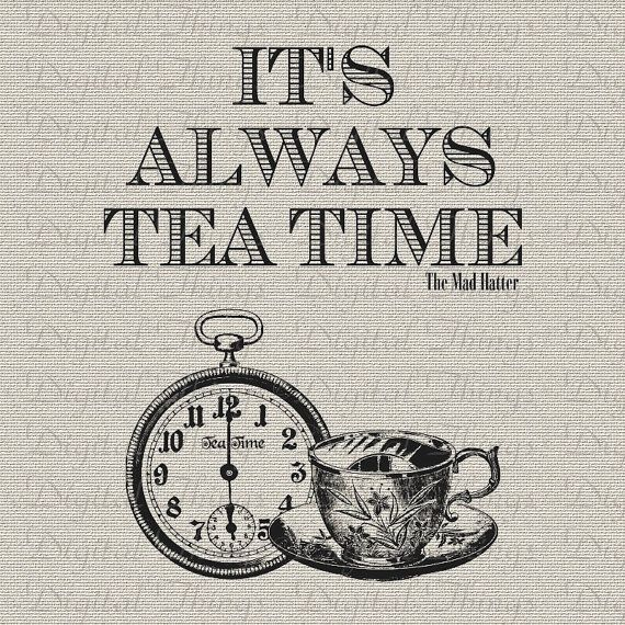alice in wonderland mad hatter quote tea time print digital download for fabric iron on transfer. Black Bedroom Furniture Sets. Home Design Ideas