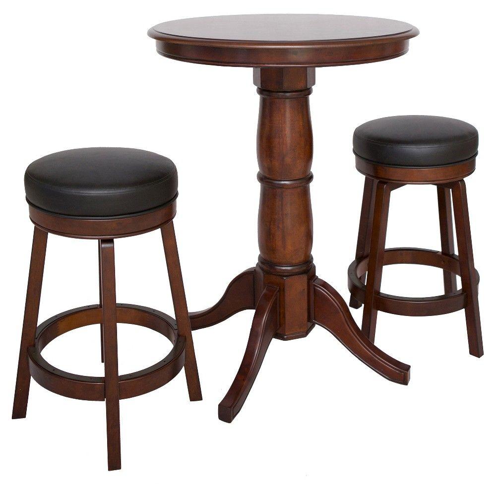 Hathaway Oxford 3 Piece Hardwood Pub Table Set - Walnut (Brown) Finish