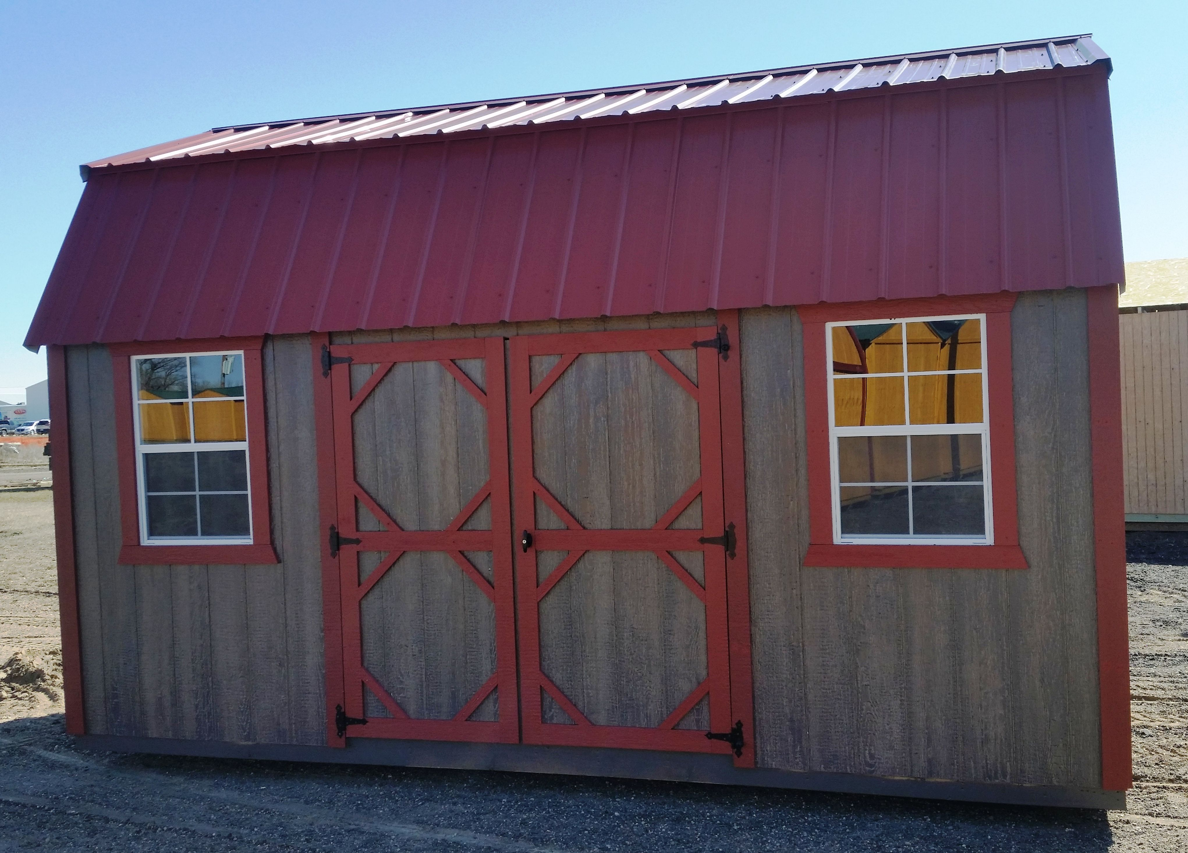 Best 10X16 Side Lofted Barn Red Metal Roof With Matching Two 400 x 300
