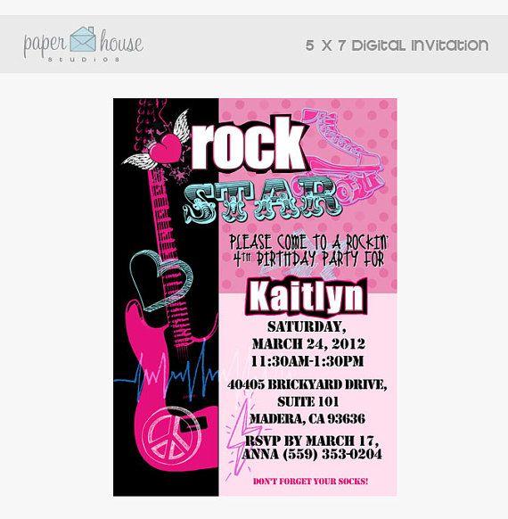 Rockstar Birthday Party Invitation Digital by PaperHouseStudios – Rockstar Birthday Party Invitations