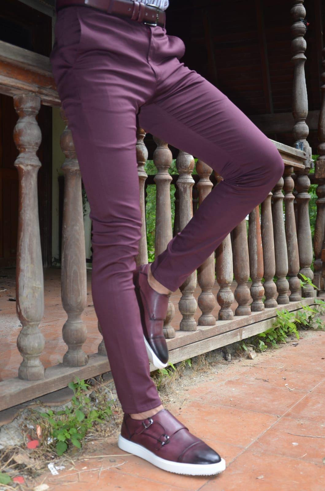 Buy Burgundy Slim Fit Pants By Gentwith With Free Shipping Slim Fit Cotton Pants Slim Fit Pants Slim Fit Pants Men