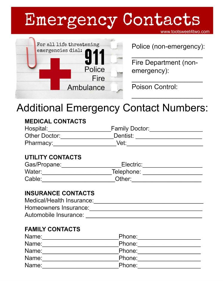 Emergency Contact Sheet Are You Ready Toot Sweet 4 Two Emergency Contact List Emergency Contact Form Emergency Contact