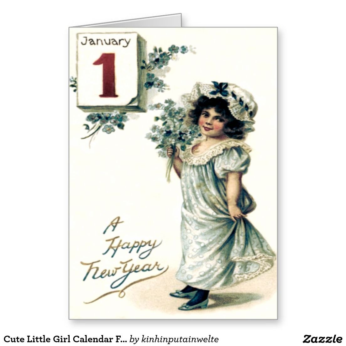Cute little girl calendar forget me nots card girls cute little girl calendar forget me nots card kristyandbryce Images