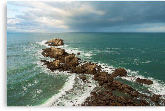 Lienzo de la costa de Zarautz en el País Vasco