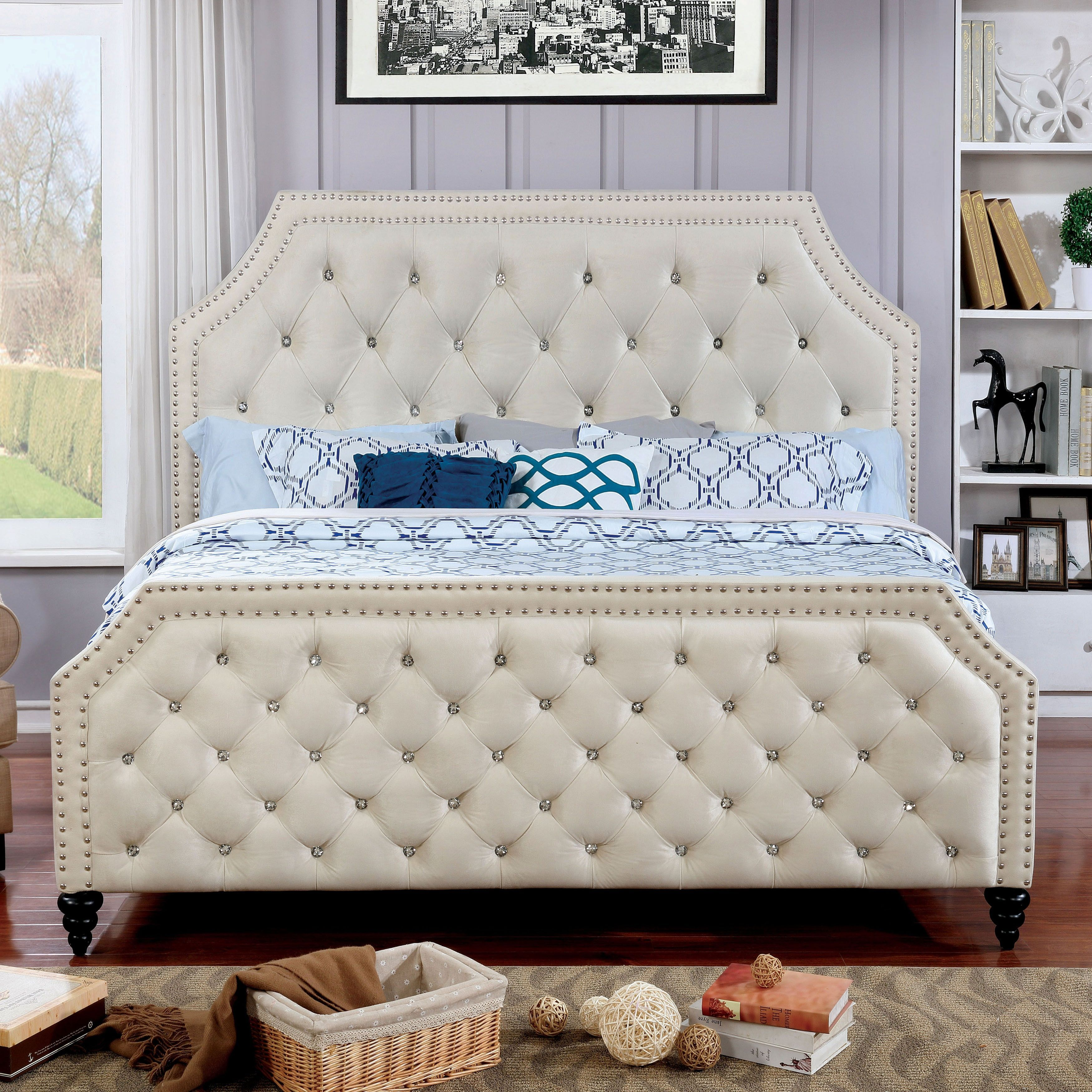 Furniture of America Pele Contemporary Beige Fabric Tufted Bed (Cal ...