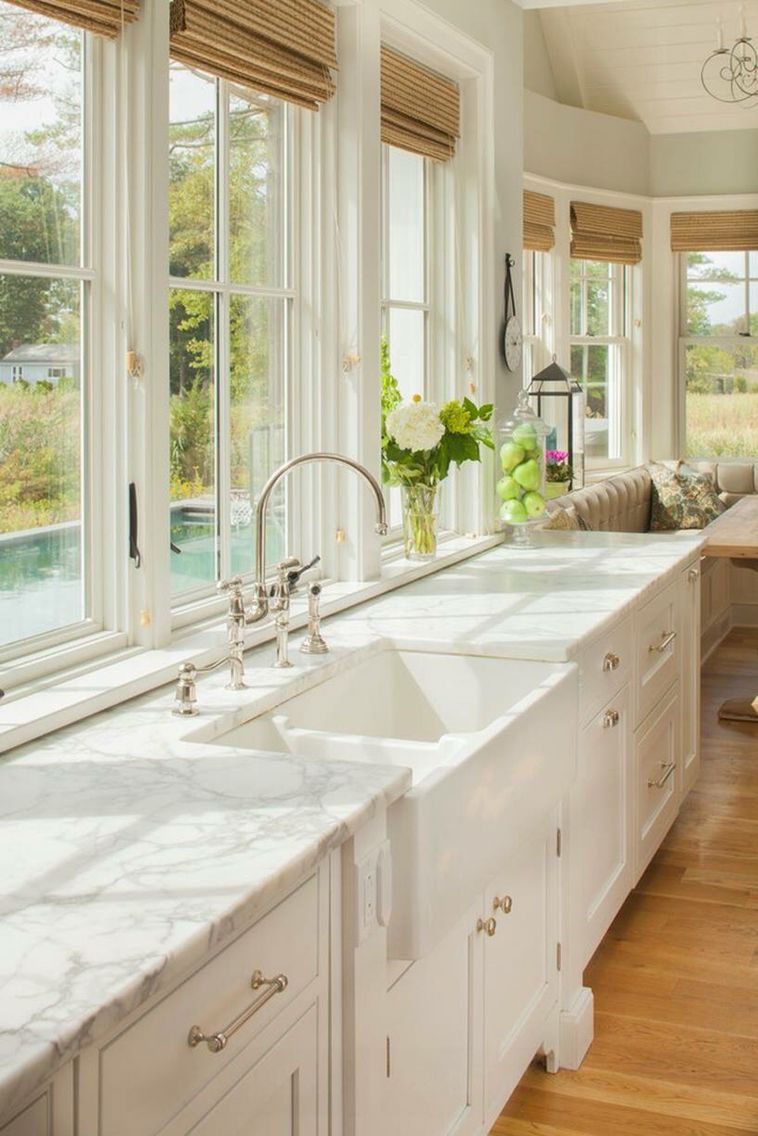Window kitchen cabinets  i need this white cabinets farm sink and big windows with a view