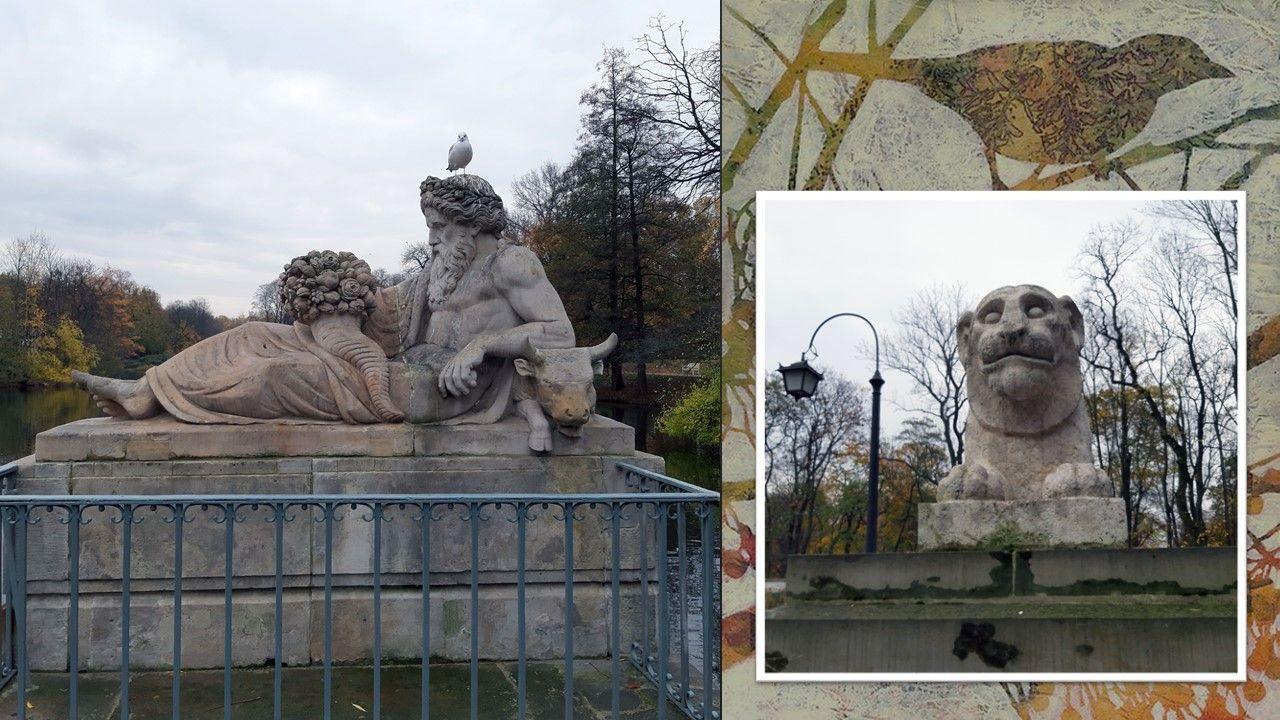 Любимая моя тема в парковой скульптуре и лепнине - это экзотические животные. Посмотрите на морду этого Льва, и вам многое станет понятно. У этого - почти человеческие уши, в Рундальском замке я видела зверя с человеческим носом.