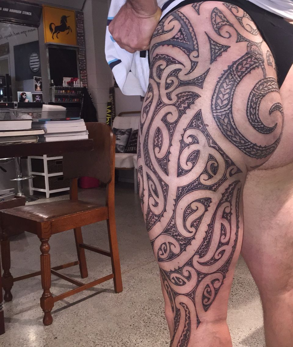 Completed Maori Thigh And Buttock Piece