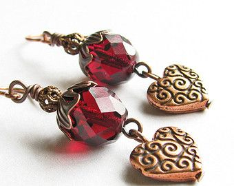 Fuchsia Earrings, Dark Pink Earrings, Copper Heart Earrings - Heart Dangle Earrings, Beaded Jewelry