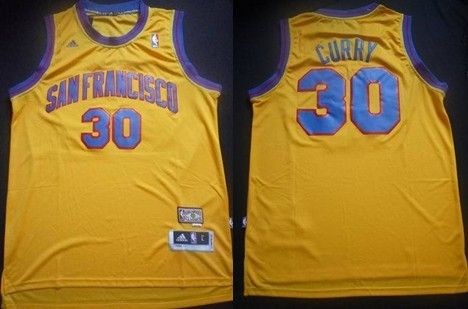674ad390f25 San Francisco Warriors  30 Stephen Curry ABA Hardwood Classic Swingman  Yellow Jersey