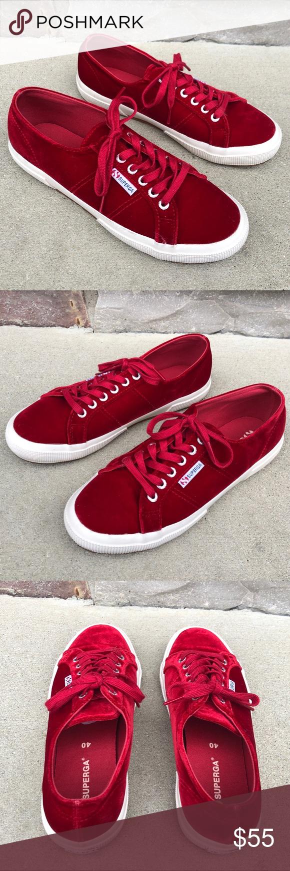 LIKE NEW Superga classic red velvet